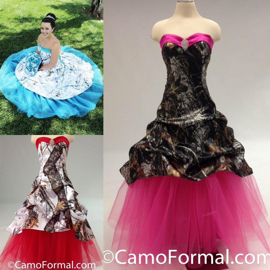 Discount colorful red blue pink camo wedding dresses 2016 for Red camo wedding dresses