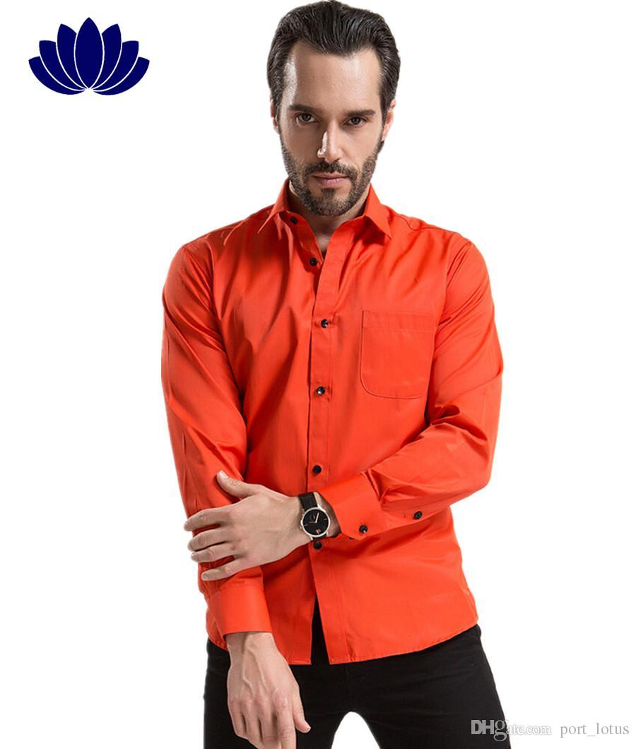 2017 2015 Men Dress Shirts, Red Orange,Long Sleeve,Solid Red Color ...
