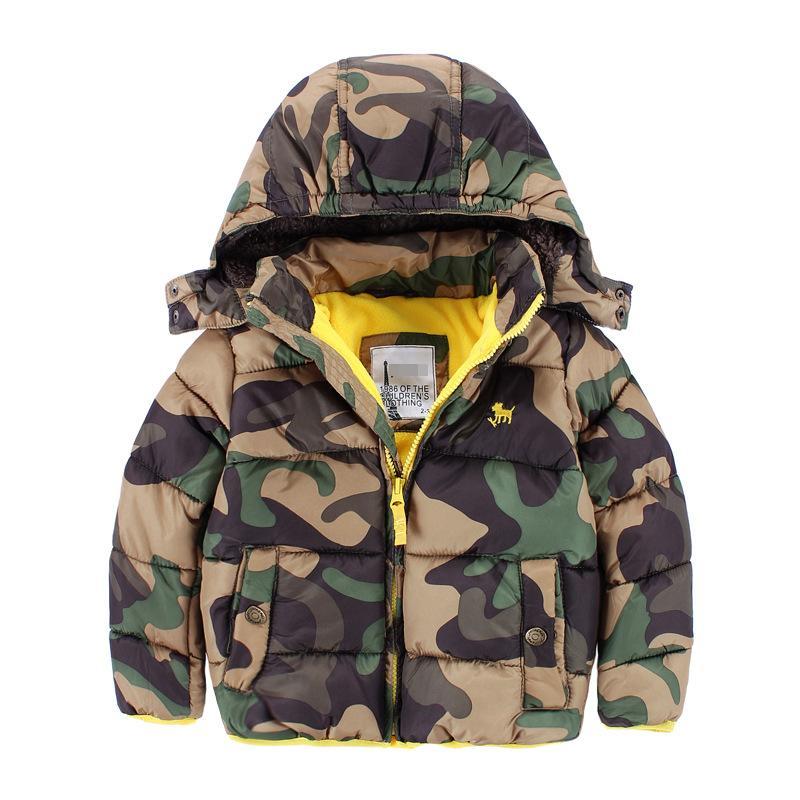 Kids Long Sleeve Army Warm Jacket Boys Zipper Winter Coat