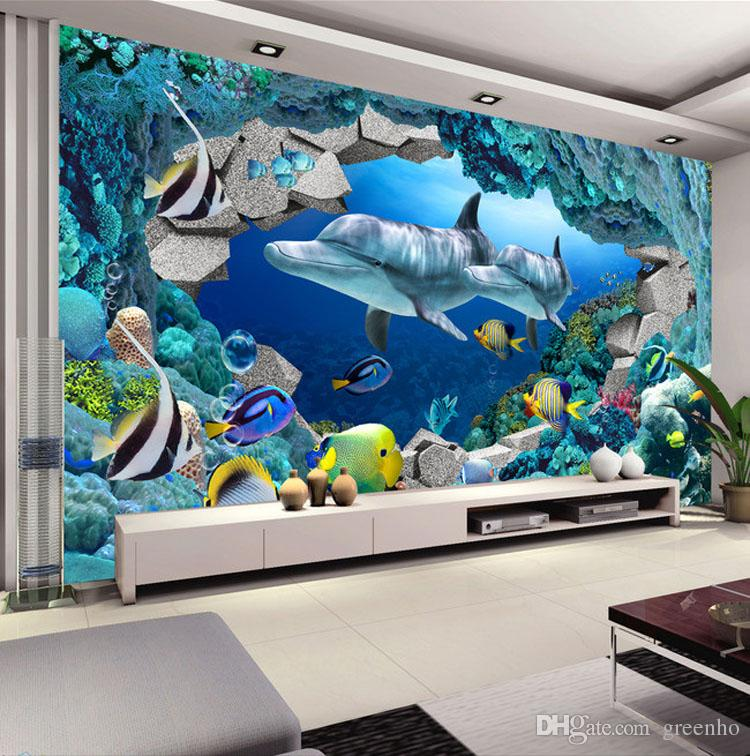 3d wall mural underwater world photo wallpaper interior for Boys wall mural