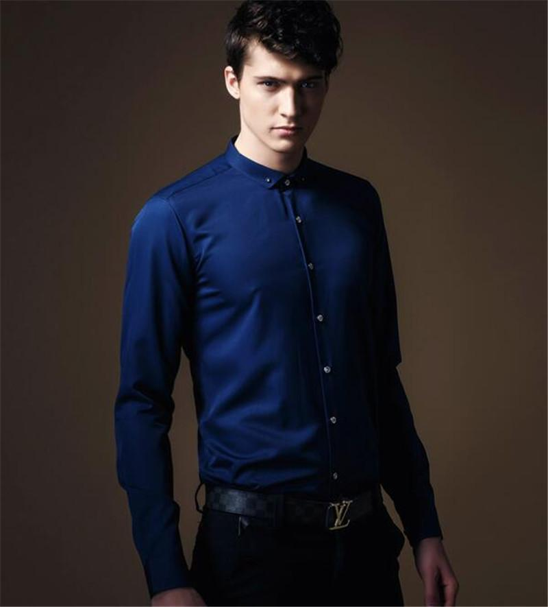 The New Design Man'S Shirt Banquet Formal Dress For Gentleman Blue ...