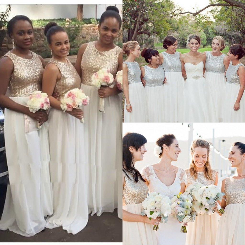 White Gold Sequins Bridesmaid Dresses 2016 Sleeveless Chiffon ...