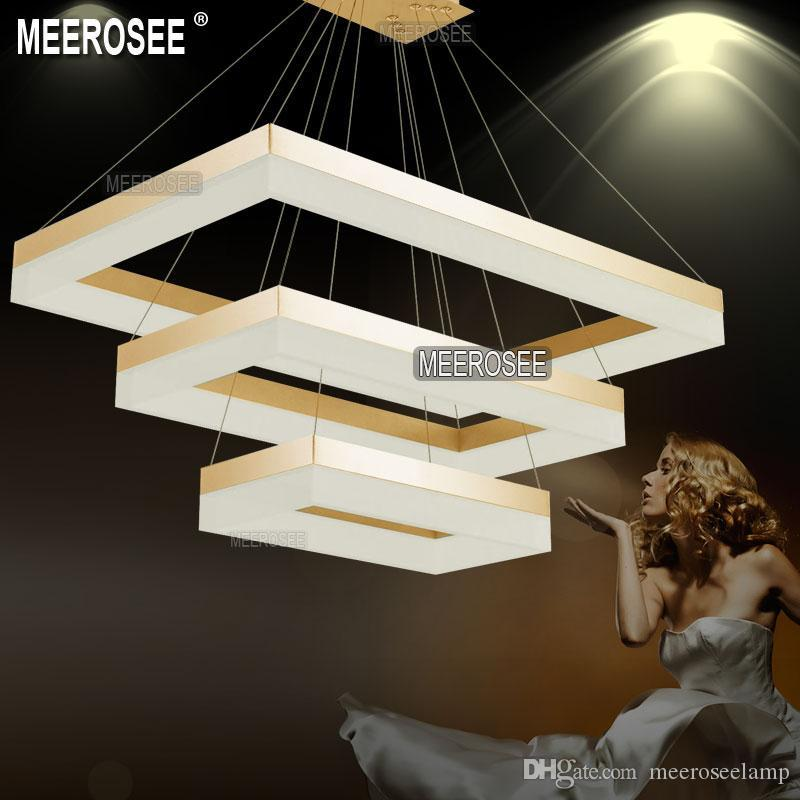 Modern LED Rectangle Chandelier Pendant Light Fixture Gold Dining Room Lamp Lighting And Black For Choice