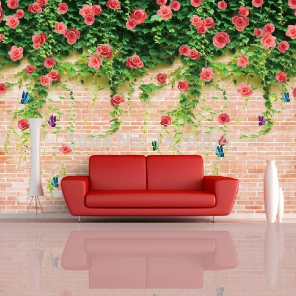 3d large brick flower wallpapers wall mural 3d murals for Wallpaper for large walls
