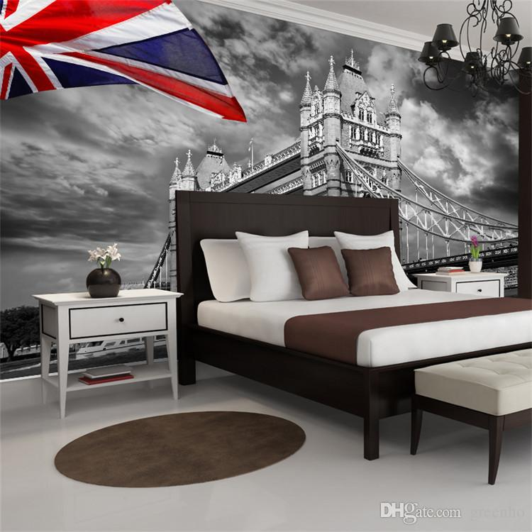 London Parliament City Urban Photo Wallpaper Custom Wall Mural Vintage UK Flag Giant Art Room Decor Bedroom Kids Living 3D