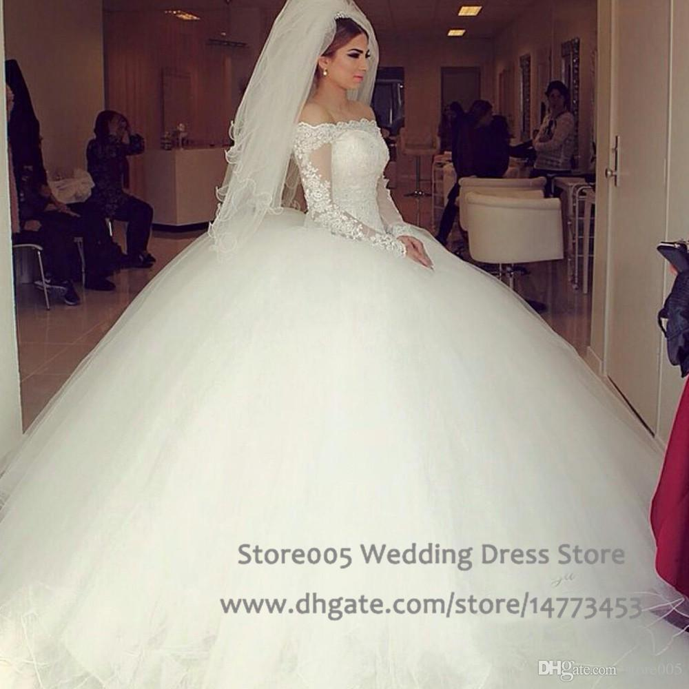 Arabic Ball Gown Tulle Off Shoulder Sleeves Wedding Dress Lace