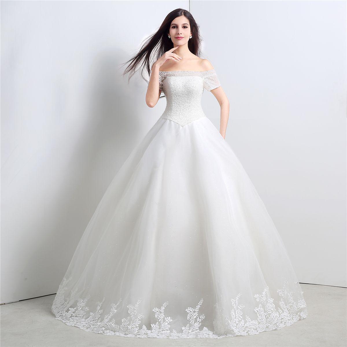Lace-Boot-Ausschnitt Brautkleider