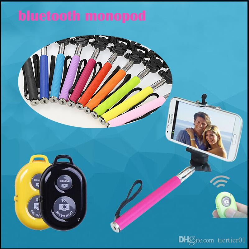 Bluetooth Selfie Stick Monopod for IOS and Android Smartphones have Separate Bluetooth Remote Shutter with retail box low MOQ on sale