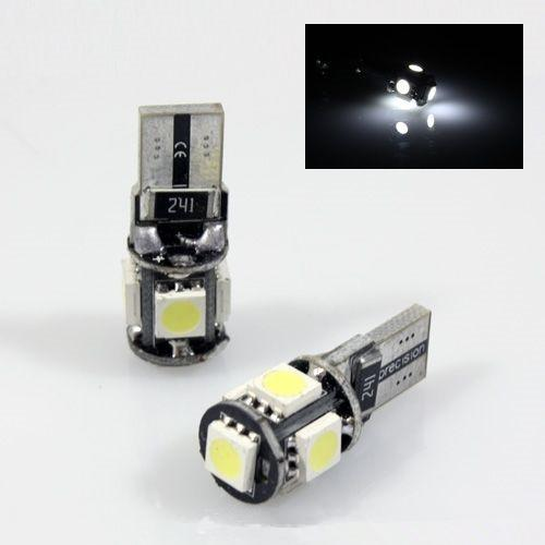 10 Pcs / lot Free Error T10 Canbus conduit W5W 194 5050 5SMD 5 LED Blanc Ampoule