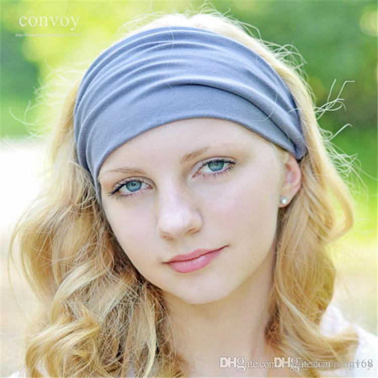 Strange New Womens Solid Elastic Wide Stretch Summer Beach Sport Headbands Hairstyle Inspiration Daily Dogsangcom