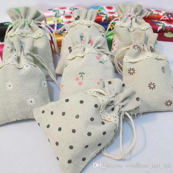17*23cm 13cm*18cm Linen Drawstring Bags Printing Gift Cotton Bags ...