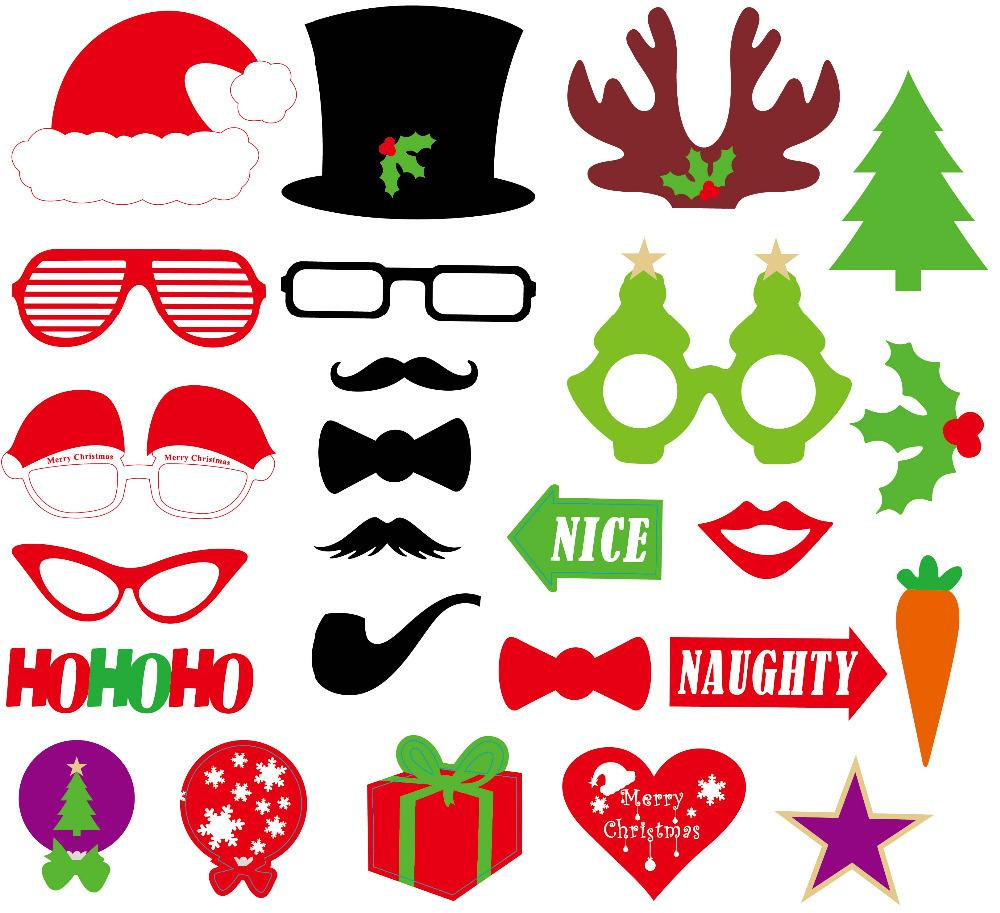 New Funny Diy Photo Booth Props Mustache Glasses Snowflake ...