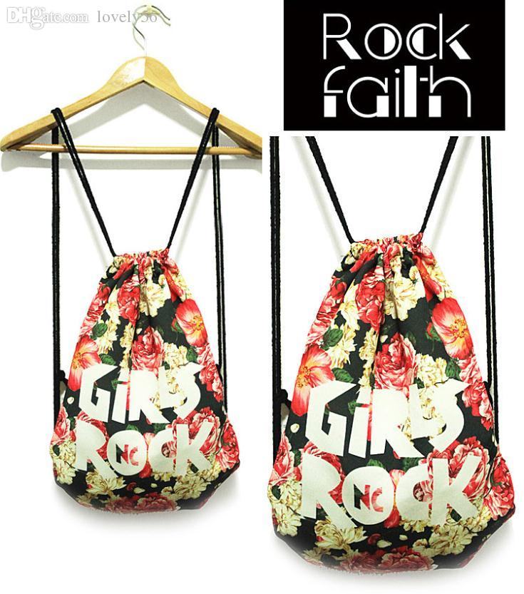 Wholesale Rock Faith Women Shoulder Bag Painting Drawstring Canvas ...