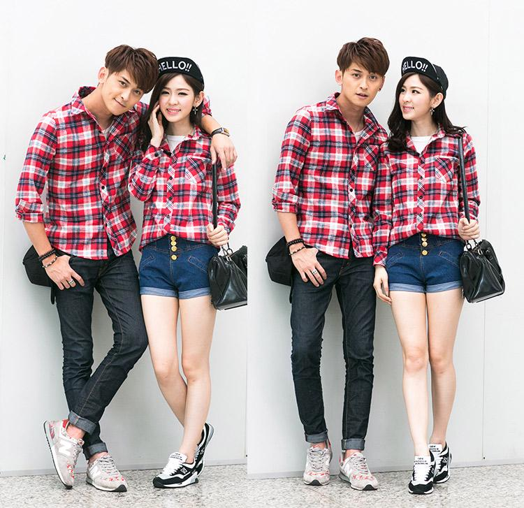 2015 Korean Fashion Women Shirt Plaid Check Pattern Turn-down Collar ...