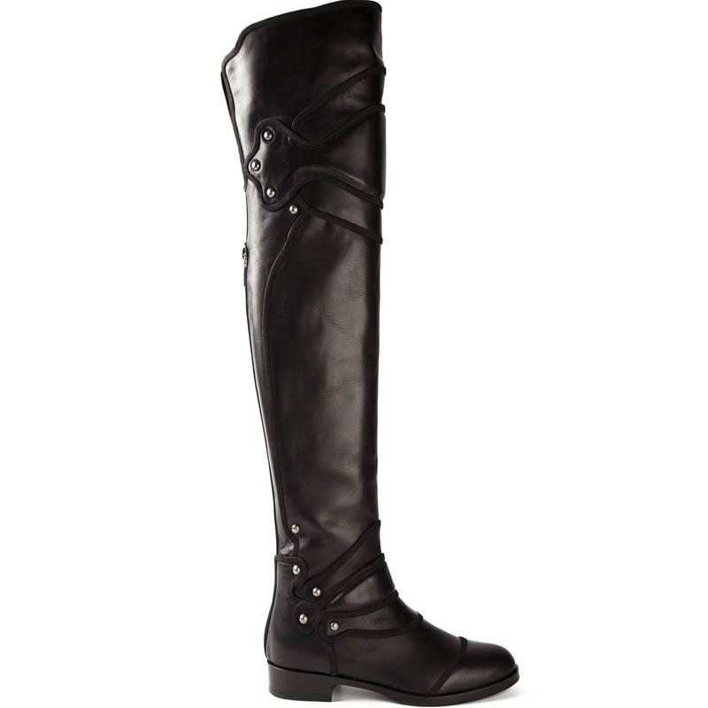 Women Long Boots Flat Black Boots Cowhide Leather Thigh High Boots ...