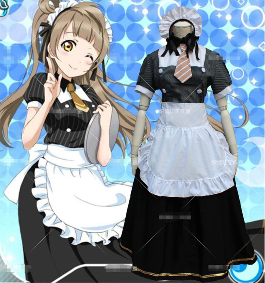 Minami Kotori Cute Maid Dress Mid,Calf Restaurant Service Dress Cosplay Anime Love Live Loita