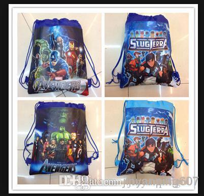 12pcs Free shipping drawstring bags The avengers a Cartoon backpack handbags children school bags kids' shopping bags present