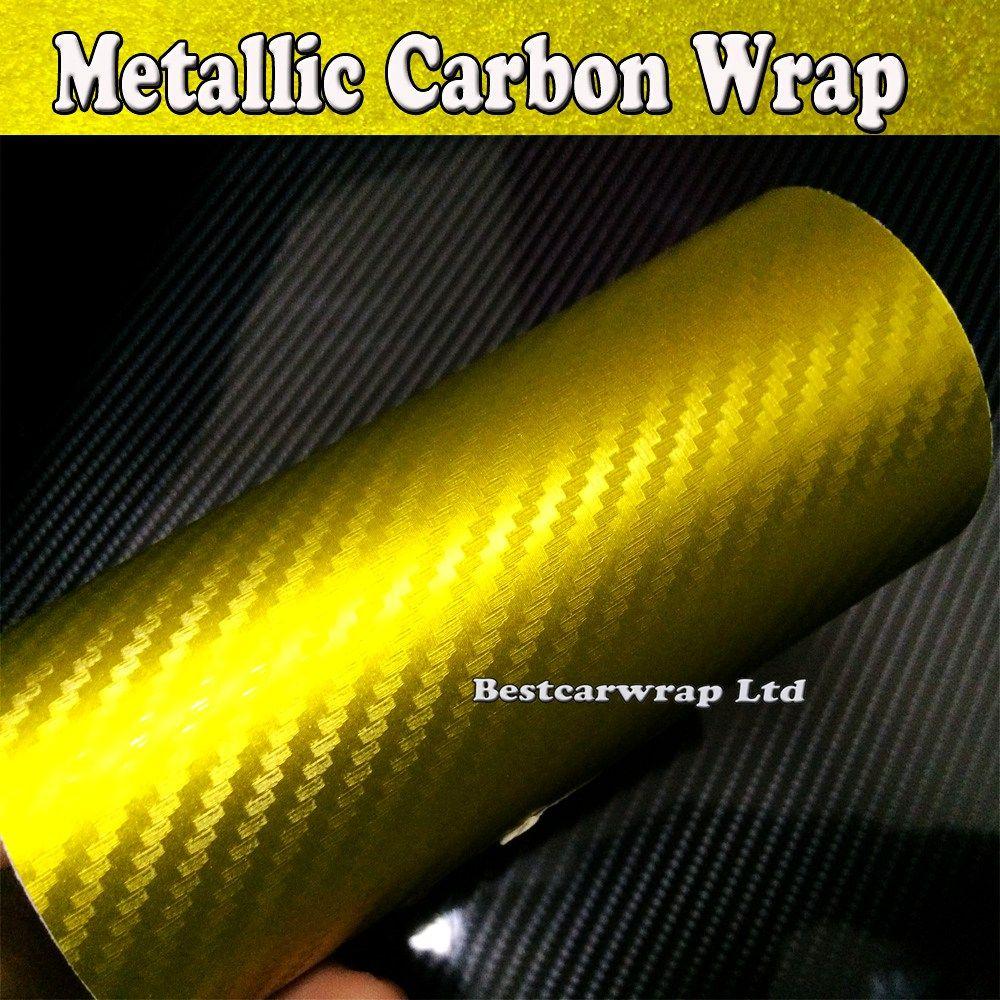 2017 Gold 3d Carbon Metallic Vinyl Wrap Golden Metallic
