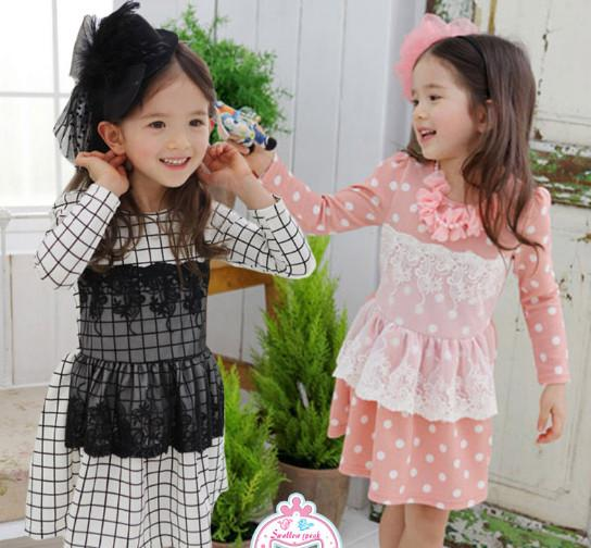 2017 Boutique Baby Girl'S Dress Plaid Gird / Dots Pattern Lace ...
