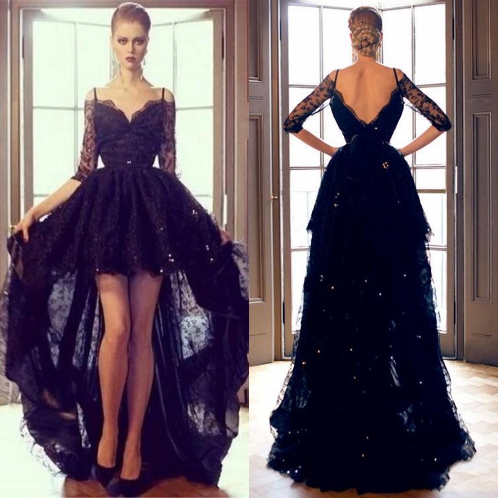 2015 Black Lace Hi Lo Evening Formal Dresses Sexy Off ...