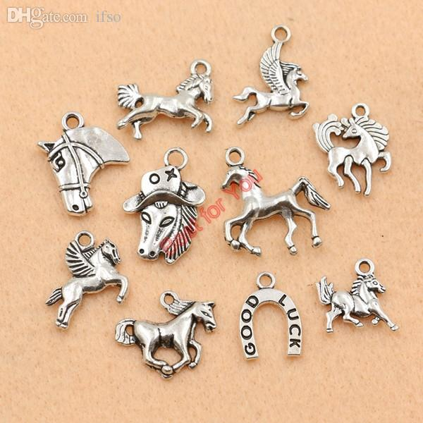 2017 wholesale mixed tibetan silver plated animals horse for Wholesale horseshoes for crafts