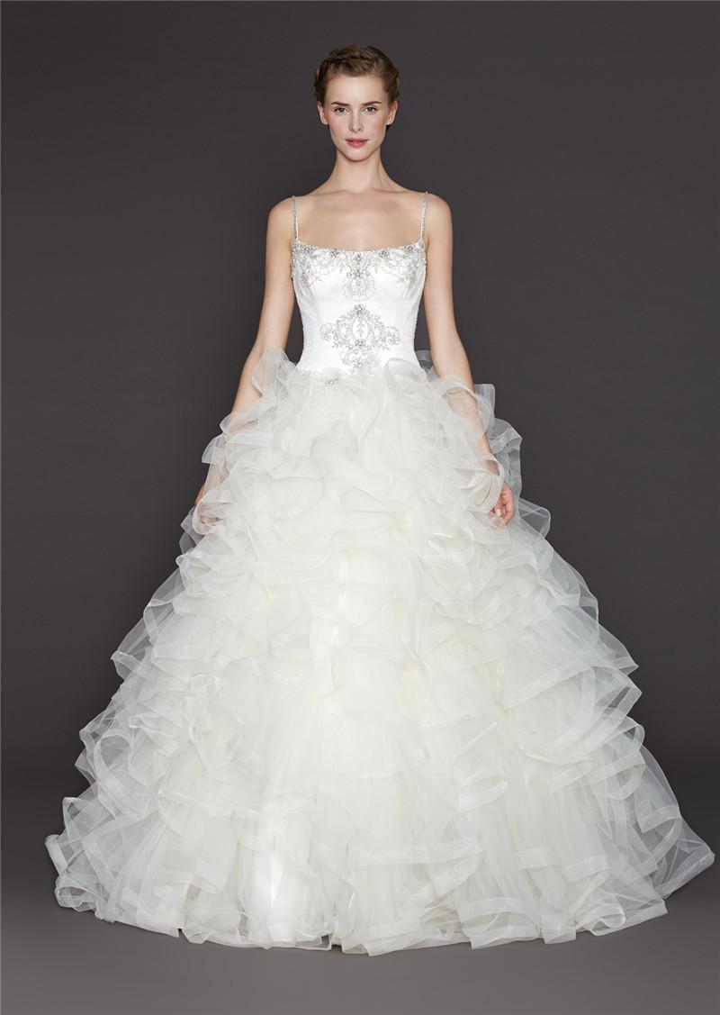 2015 Tulle Ruffles Bottom Ball Gown Wedding Dress Zipper