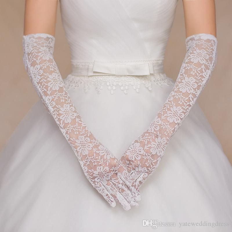 Cheap lace gloves long elbow length bridal glove white see for Wedding dress with long gloves
