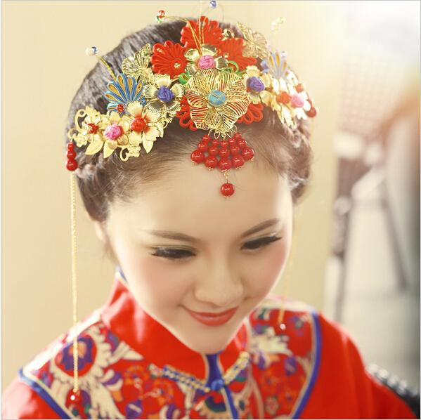 wedding bridal hair accessories bride costume of ancient classical headdress crown chinese tradinional headwear gold plated hair accessories wedding hair