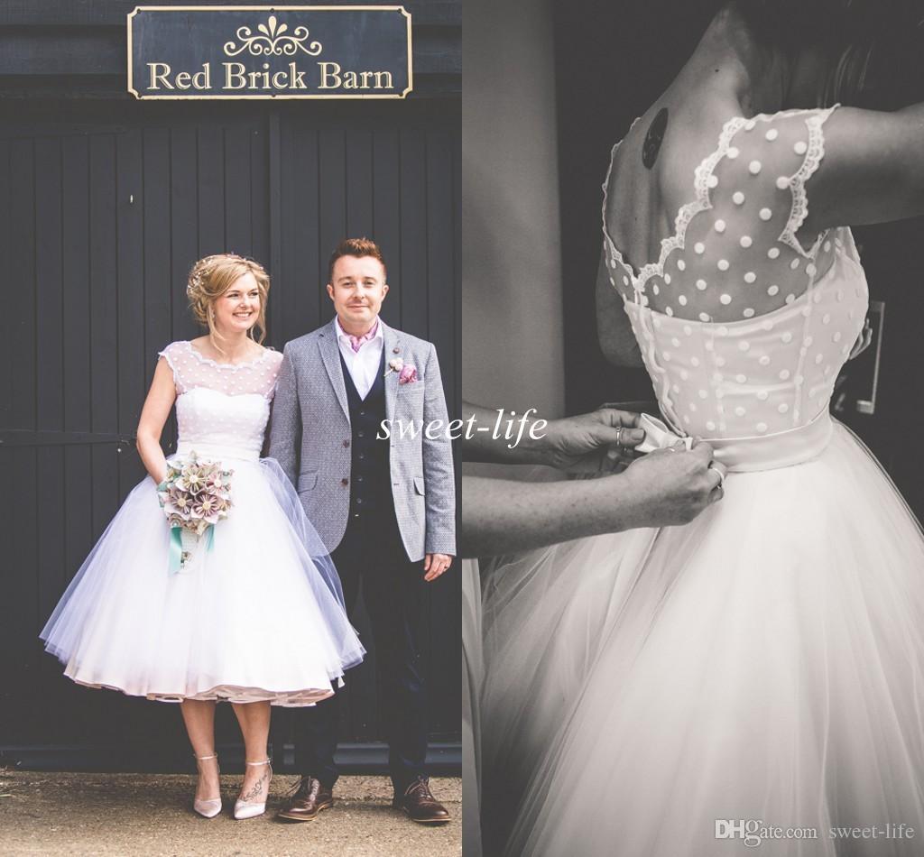 Vintage 1950 s Tea Length Wedding Dresses 2016 Cap Sleeves