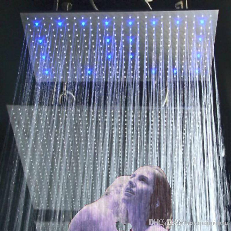 hmbd0111 inch huge rain shower headled shower headrgb colorsquare shower head head travel head foam head magnifier online with 4875set