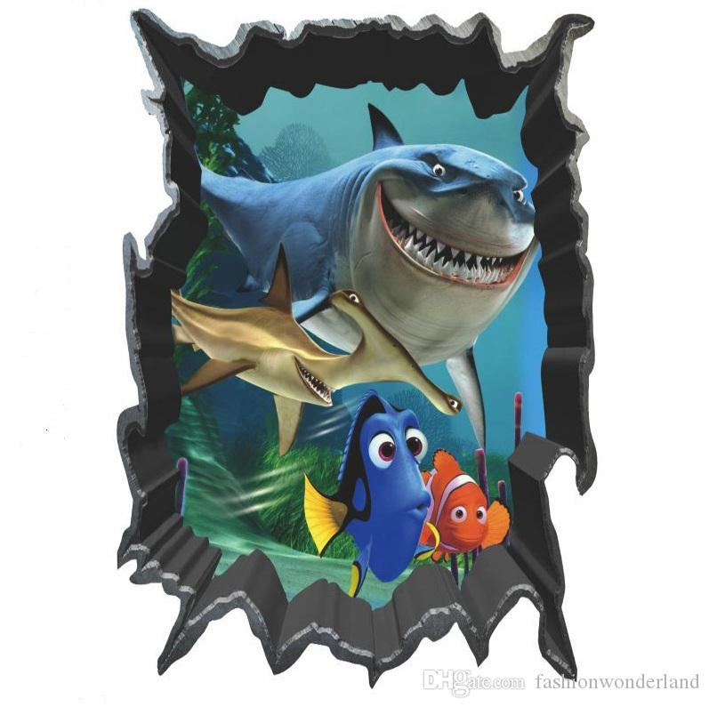3d window finding nemo wall stickers cartoon movie ocean for Fish cartoon movie