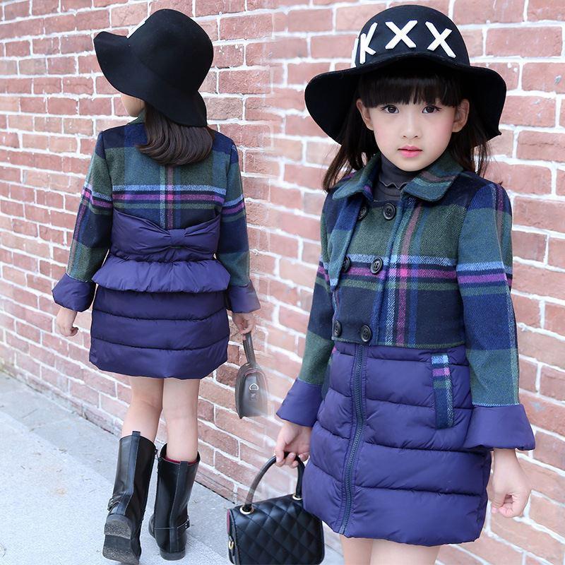2017 winter jackets for teenage girls plaid girl parka