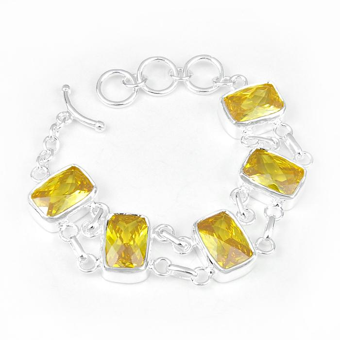 Luky Shine Party Jewelry Trendy Mother Father Gift Square Fire Citrine Gemstone Crystal 925 Sterling Silver Bracelet Bangle Wedding Jewerly