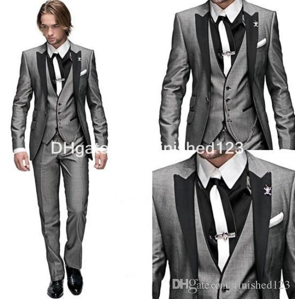Customize One Button Light Grey Groom Tuxedos Peak Lapel Men