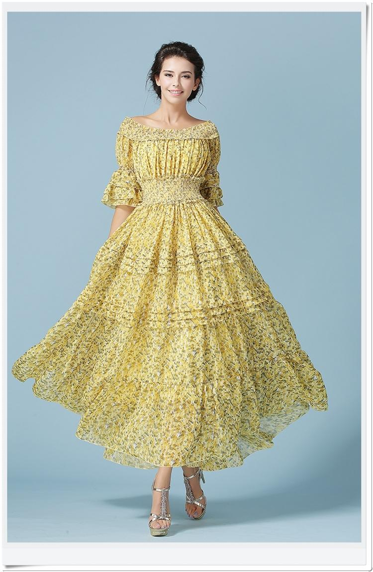 European Yellow Women's Dress Long Sleeve Pleated Chiffon Maxi ...
