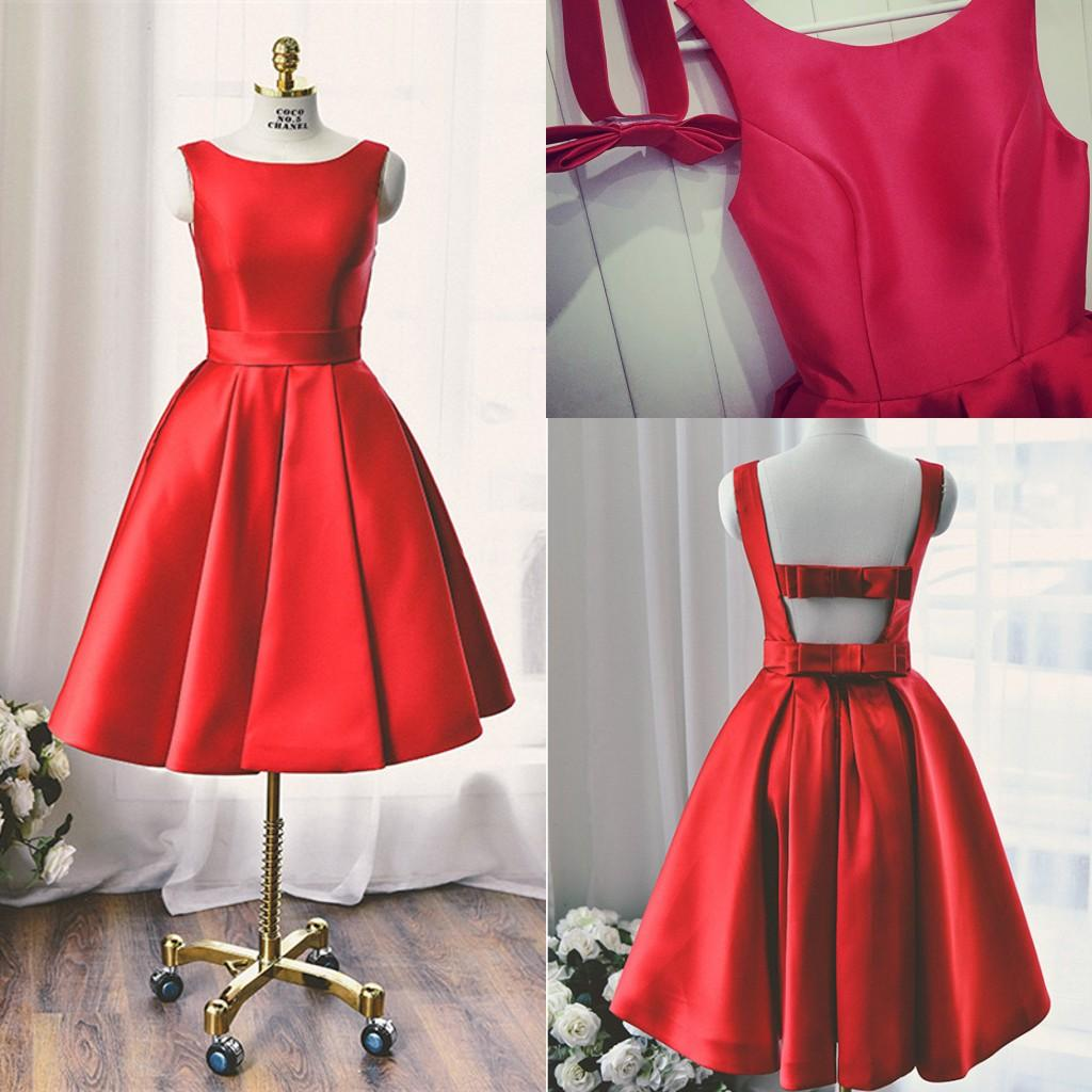 2016 red satin tea length prom dresses bow sash backless for Red tea length wedding dress