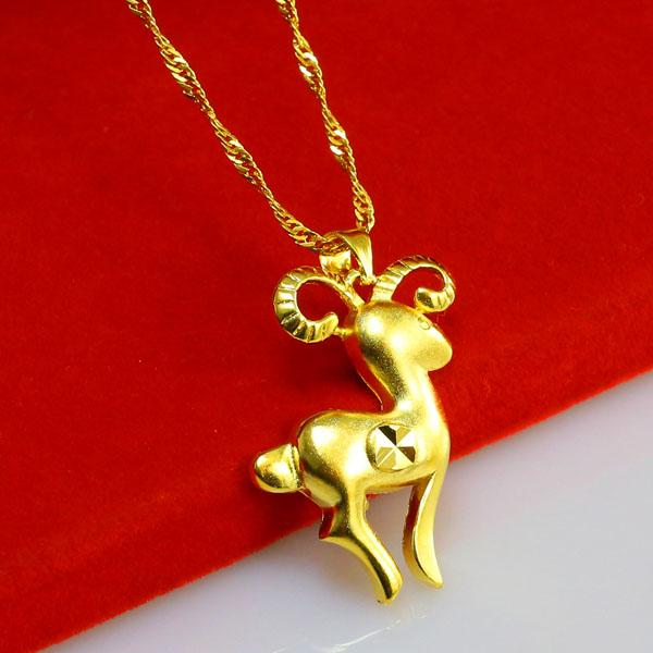 Gold does not fade zodiac pendant male and female sheep for Does gold plated jewelry fade