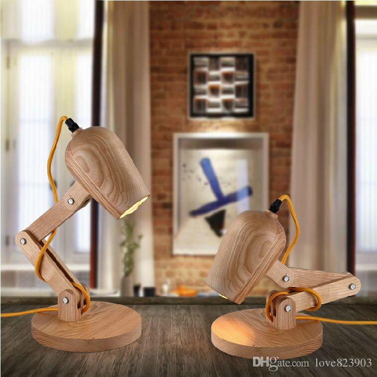 Newest Design Wood Table Lamps Desk Light Living Room Bedroom
