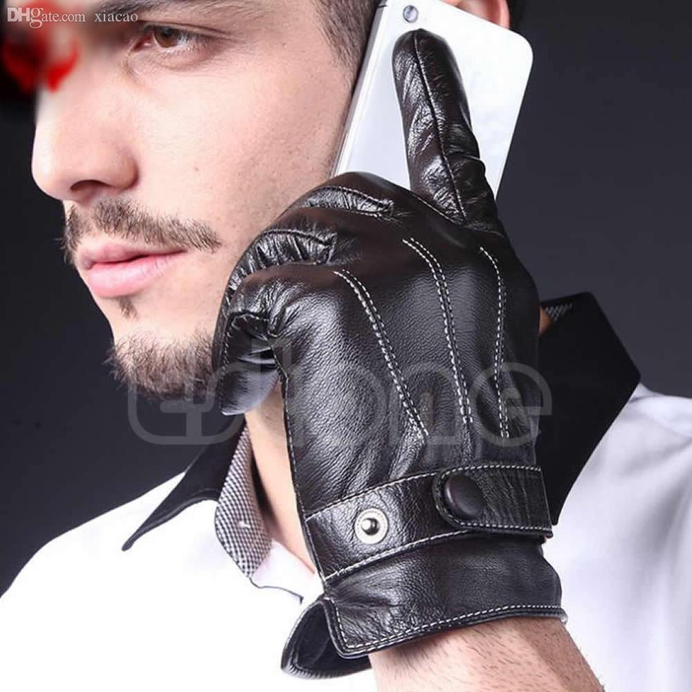 Driving gloves wholesale - Online Cheap Wholesale Fashion Men 3 Lines Black Warm Faux Leather Lined Driving Gloves Winter Mittens By Cety Dhgate Com