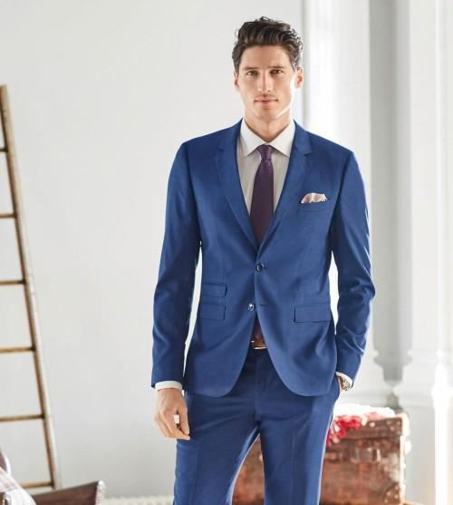 Blue Gray Suit Mens Dress Yy