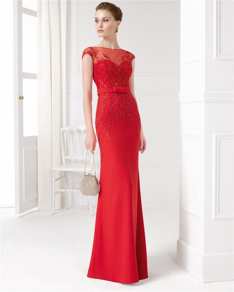 2016 Elegant Red Sheath Long Mother Of Bride Dresses Sheer