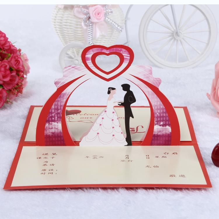 2015 Red Love 3d Creative Bride Amp Bridegroom Wedding Invitation Fashion Personalized Custom