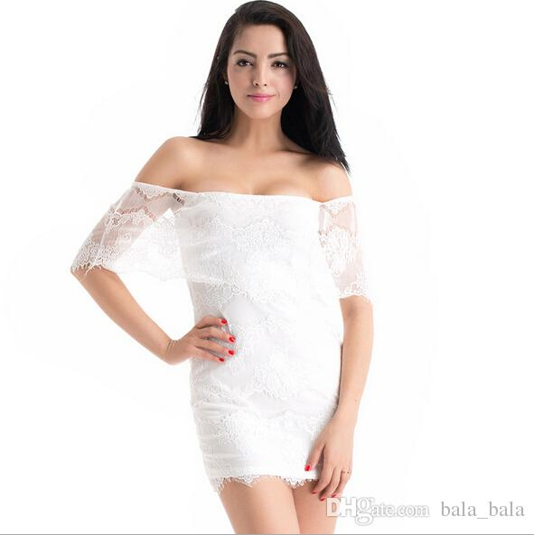 White Dress Low Cut White Lace Dresses Low-cut
