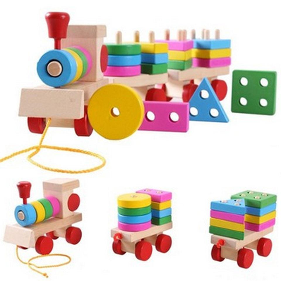 Stacking Toy Puzzles : Wooden train puzzles toys stacking shape geometry
