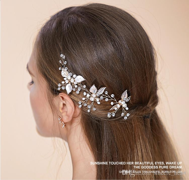 2015 wedding hair accessories cheap modest real image pearls beads
