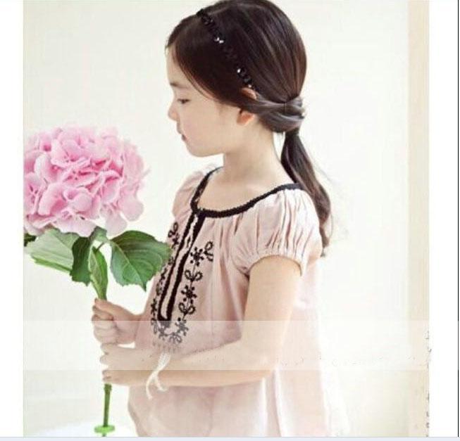 2015 Girl Shirt bestickt Baumwolle Kurzarm Hemden 11426
