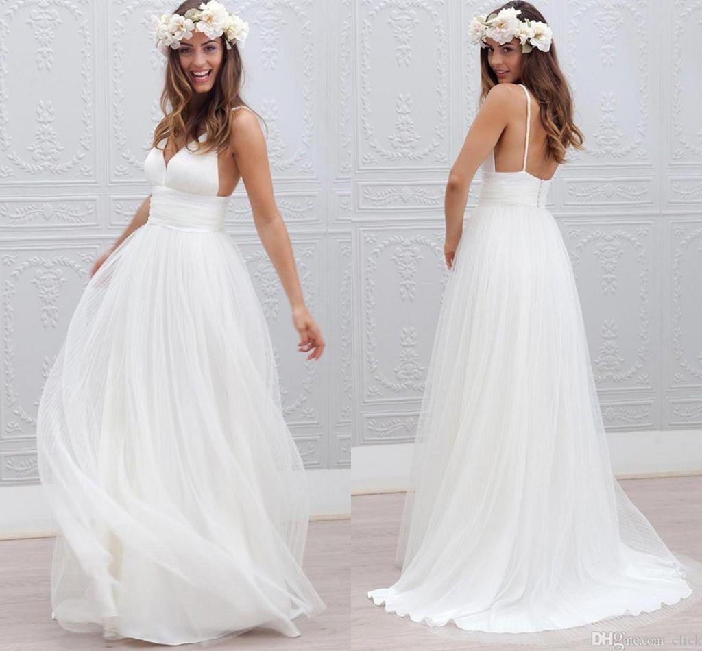 2016 new bohemian beach wedding dresses cheap spaghetti for Inexpensive beach wedding dresses