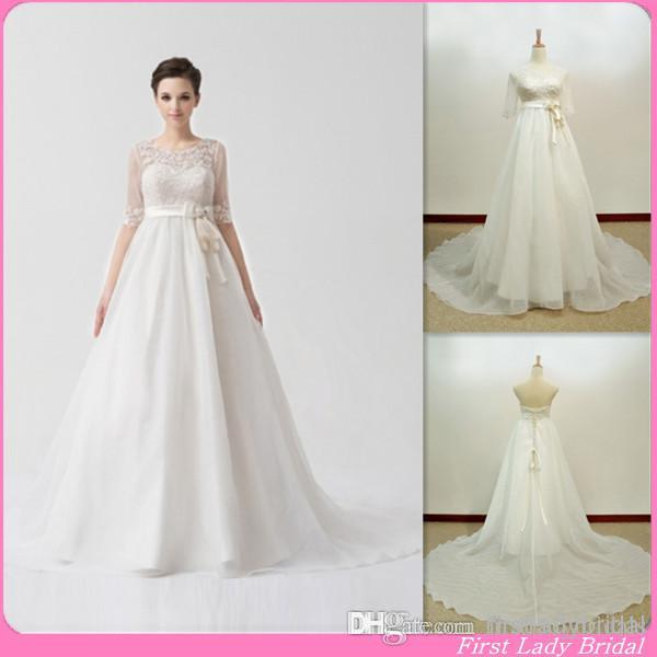 Maternity Wedding Dresses Modern Half Sleeves Detachable Jacket ...