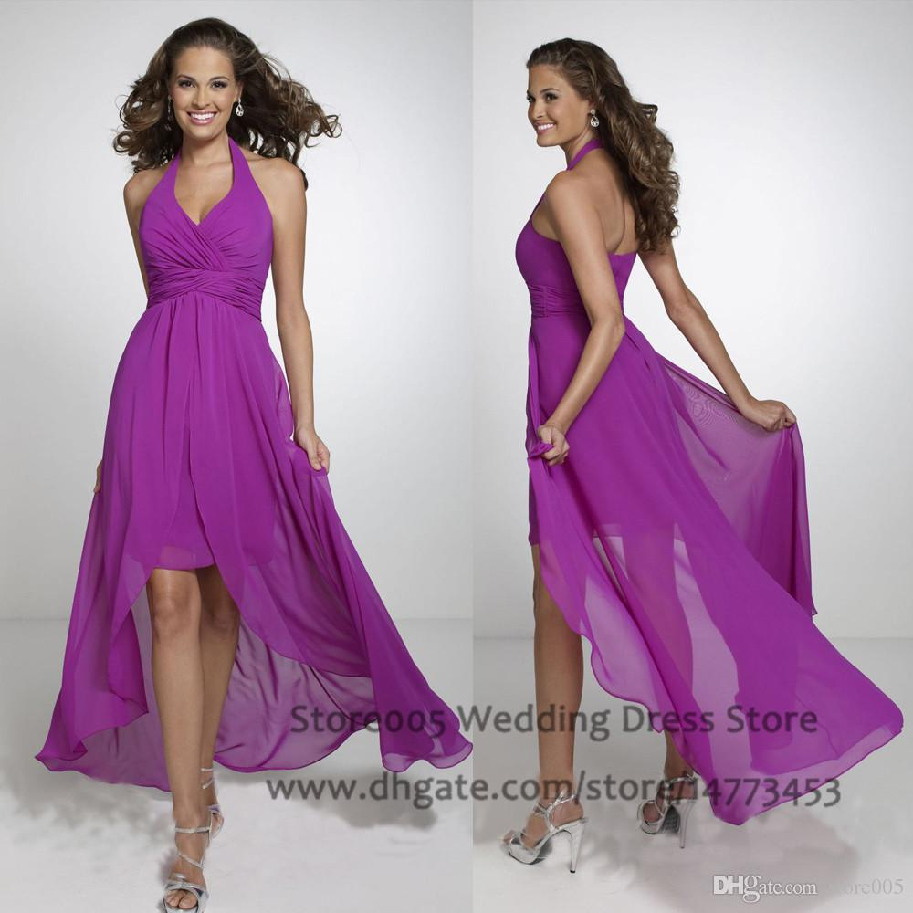 Western chiffon purple high low bridesmaid dresses halter for High low wedding guest dresses