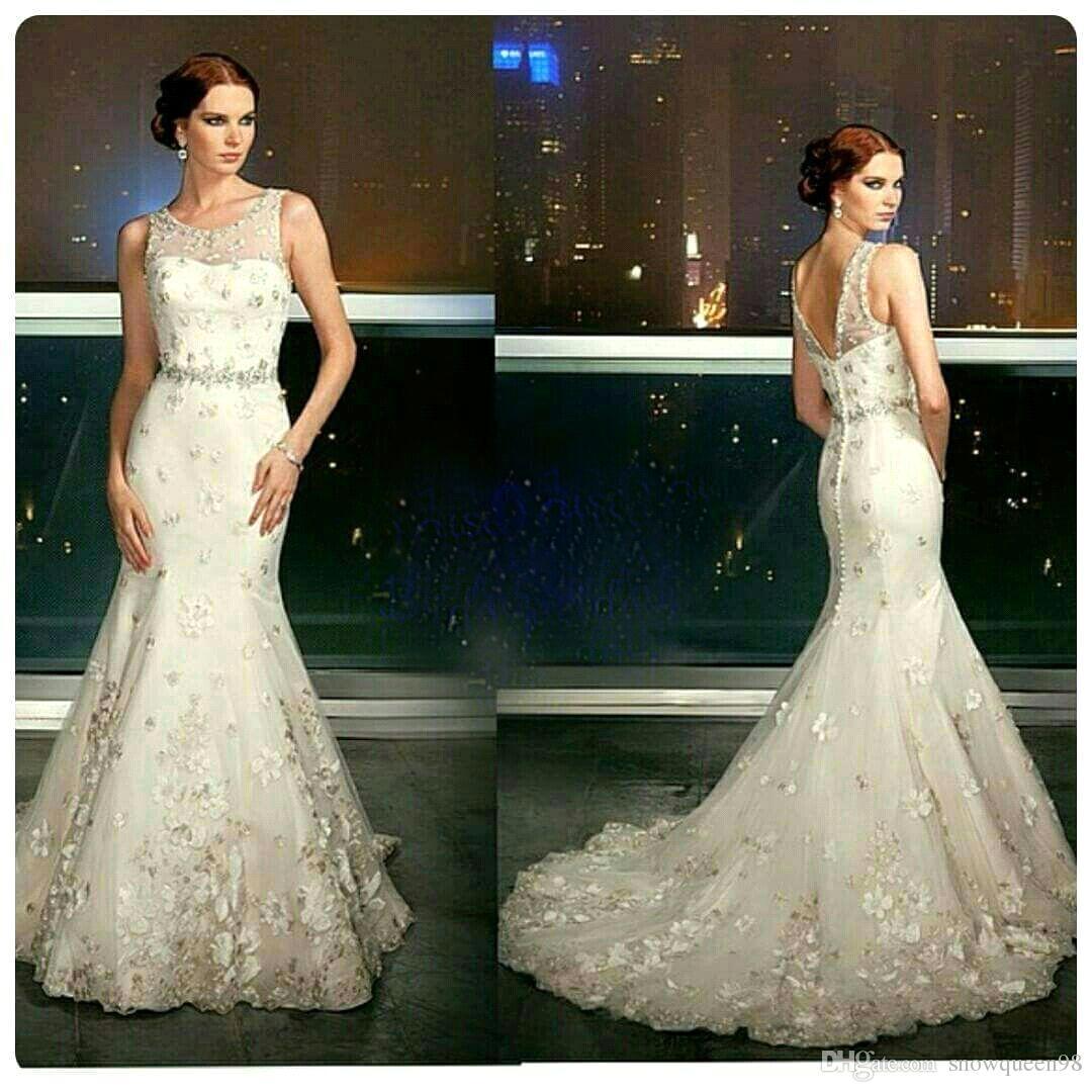 2016 elegant mermaid wedding dresses appliques backless for Dhgate wedding dresses 2016